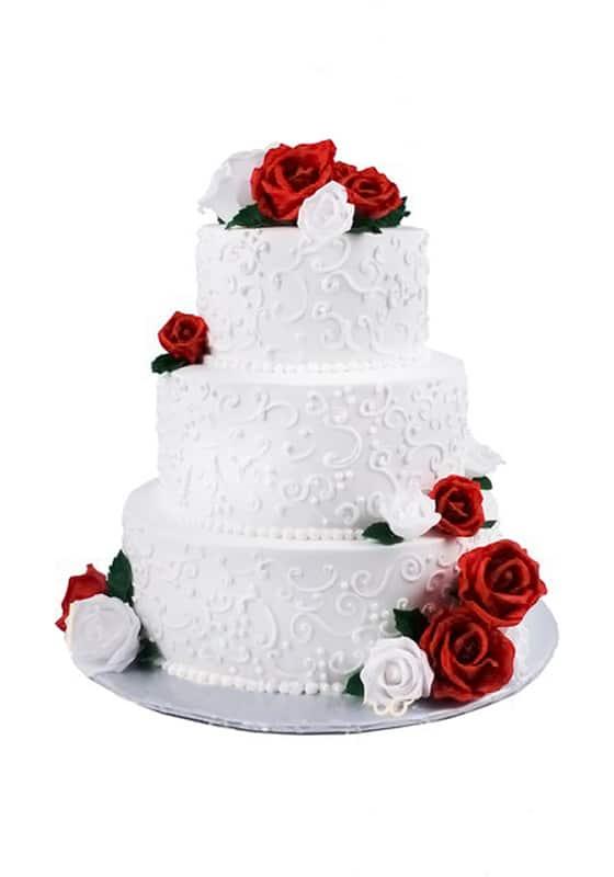 Свадебный торт с Красными и белыми