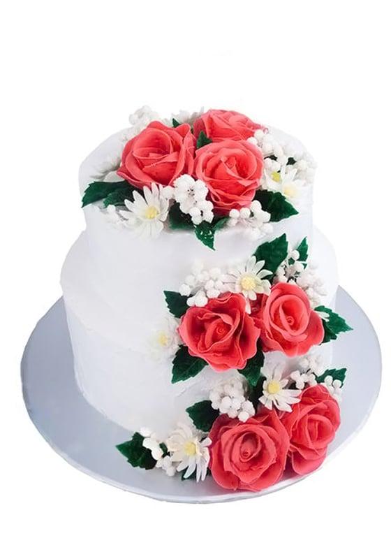Свадебный торт с Розами и ромашками