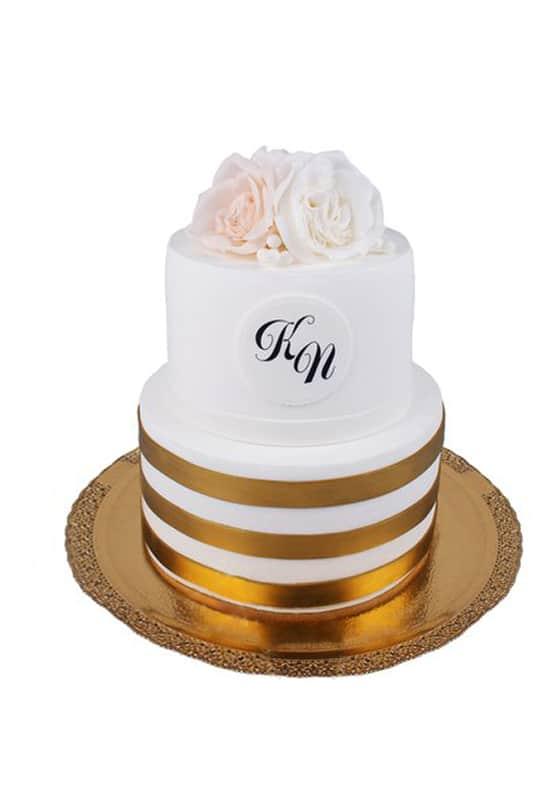 Свадебный торт с Золотыми лентами