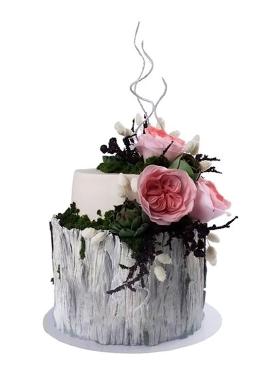 Свадебный торт в виде пенька с розами