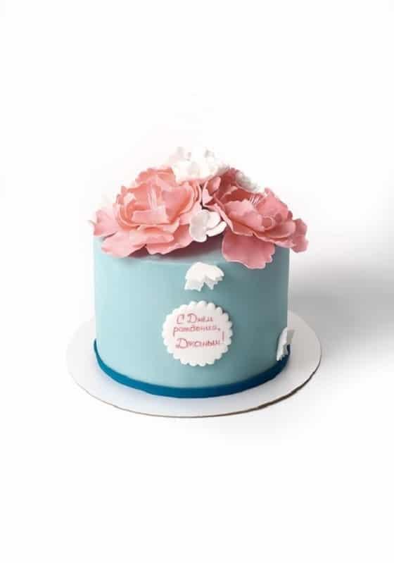 Торт с розовыми Пионами