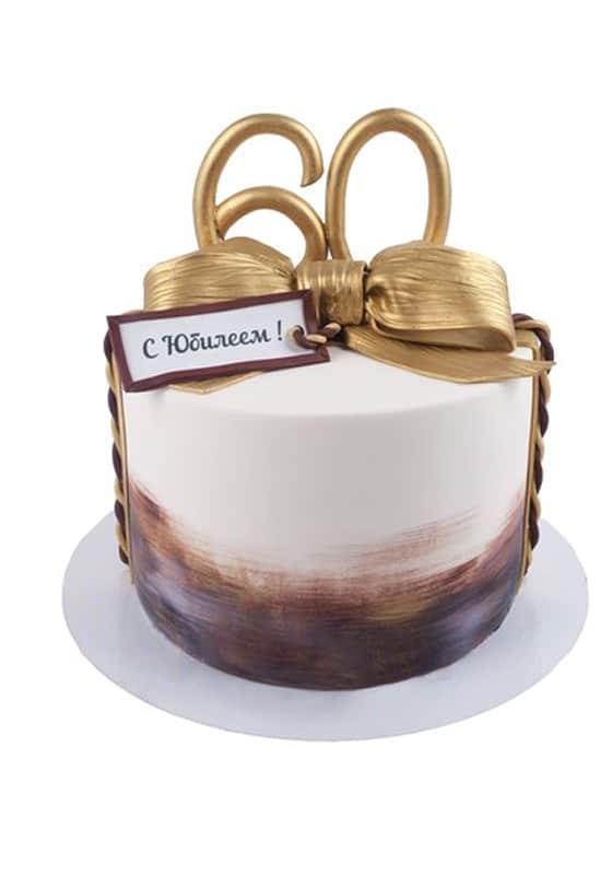Торт на Юбилей с золотым бантом