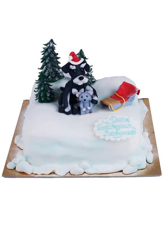 Зимний торт с собакой